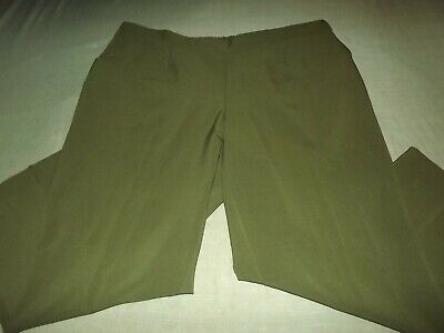 Women's Plus ALLISON DALEY Elastic Waist Pull On Stretchy Green Polyester Pants