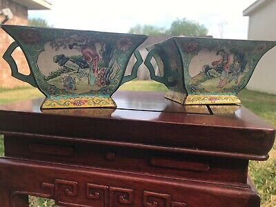 Pair of antique Chinese hand painted enamel metal bowls—— late 19th early 20th c