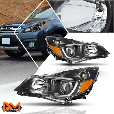 For 10-14 Outback//Legacy Pair Projector Headlight//Lamps Replacement Black//Amber
