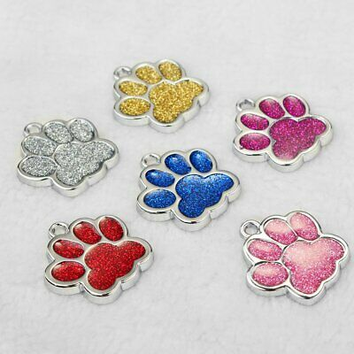 Bling Glitter Paw Engraved Tags Personalized Dog Cat Dogs ID Name Number Address