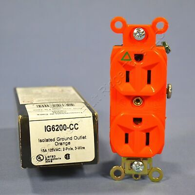 Pass & Seymour Orange ISOLATED GROUND Outlet Receptacle 15A IG6200-CC