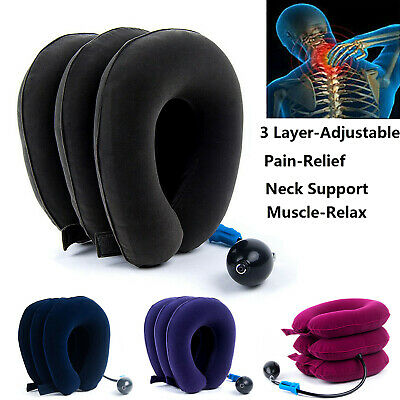 Air Traction Inflatable Cervical Neck Head Support Massager Brace Pain Relief US