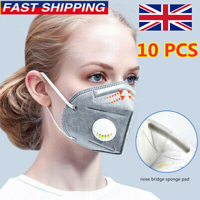 UK 10PC Reusable 95 Grade Mask FACE LOT. Anti-haze Valve Respirator Protection