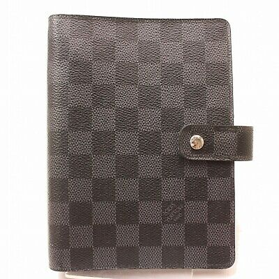 Authentic Louis Vuitton Diary Cover Agenda MM Grays Damier Graphite 801871