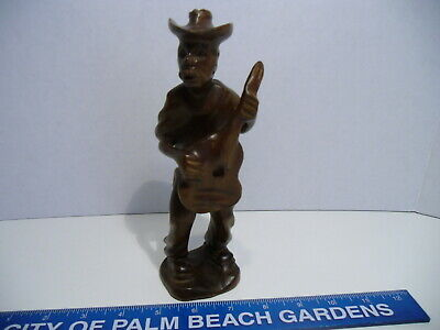 """Vintage 8"""" Hand Carved Wooden Man with Guitar and Hat Figurine"""