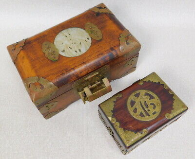 Old Vintage Chinese Incised Brass Lacquered Wood Jade Trinket Jewelry Box Lot