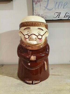 VINTAGE BISCUIT BARREL - FRIAR CHUCKY Monk Weiss Pottery Germany. RARE