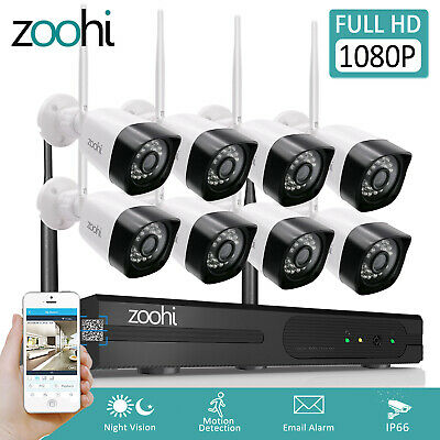 Zoohi 1080P Home Security Camera System Wireless Outdoor CCTV WIFI 8CH NVR Night