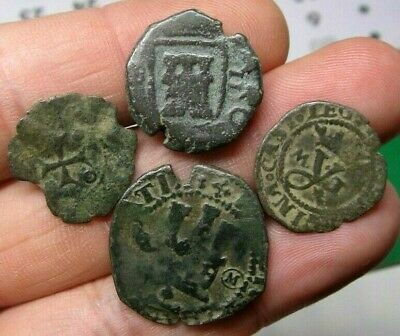 Lot 4 Dated Pirate Treasure Cobs Spanish Maravedis Colonial Old Coins (10)