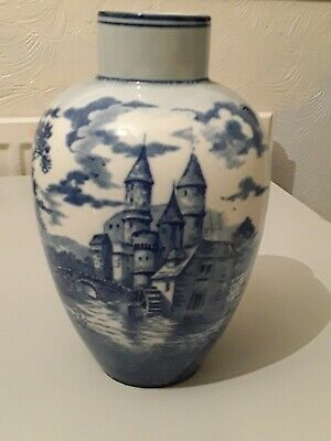 Antique Delft Blue & White Castle And Windmill Vase