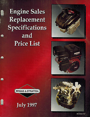 Briggs/ Stratton Replacement Engine Specificatio Manual