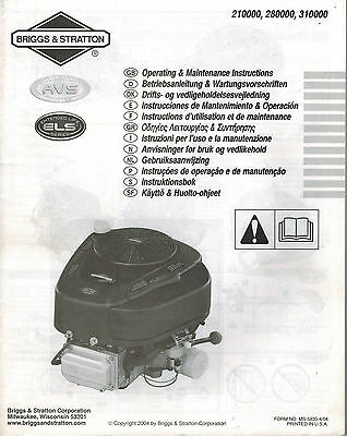 Briggs & Stratton Various Models Els Series Engine Operator's Maintenance Manual