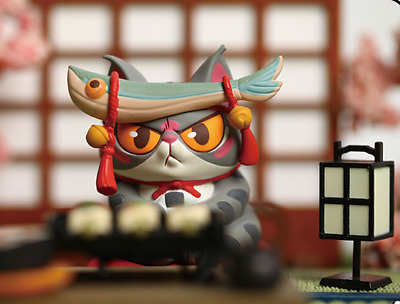 New 52Toys Ramen Cat Designer Toy Blind Box-1//5-Calico Cat with puffer fish