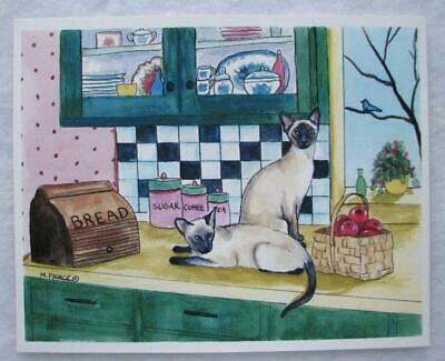 "Siamese Cats Original Acrylic By Margaret Prince 2003 ""Double Trouble"""