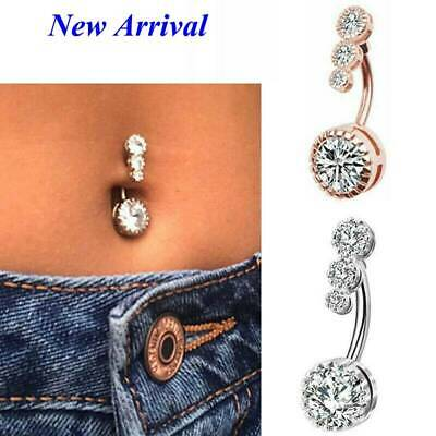 Fashion Navel Belly Button Rings Surgical Steel Zircon Body Piercing Jewelry~