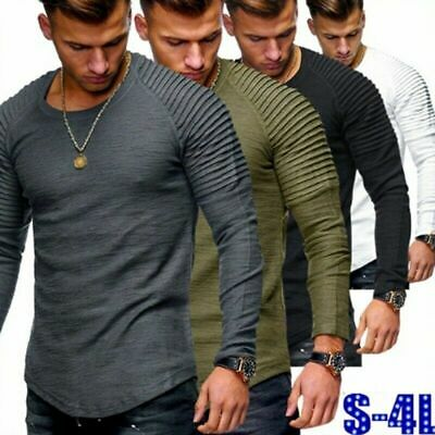 Mens Long Sleeve T Shirt Slim Fit Muscle Style Casual  Round Neck Fashion Blouse
