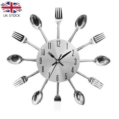 Modern Home Cutlery Fork Kitchen Tableware Wall Pointer Analog Clock Numeral Uk