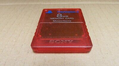(Pa2) Official Sony Playstation 8MB Memory Card - PS1/ PS2- Transparent Red