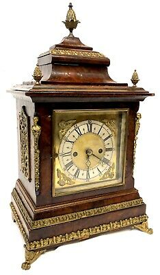 Stunning Antique Double Fusee Walnut Bracket Clock With Brass Mounts.