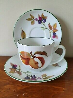 Royal Worcester 'Evesham Vale'  Green Rim Cup And Saucer + 1 Extra Saucer