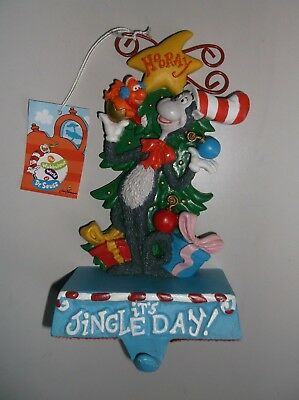 Dr Seuss Cat in the Hat Cast Iron CHRISTMAS STOCKING HOLDER Hanger Whozit