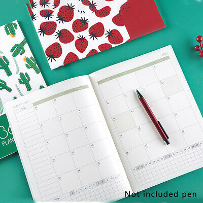 2020 Daily Monthly Calendar Planner Diary A4 Month View Grid Cute Cover
