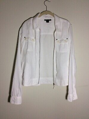 Style & Co. Womens Linen White Jacket Top with Zipper Pockets XL