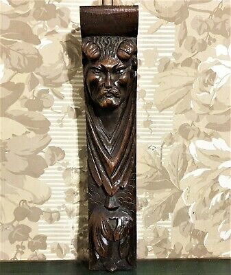 Devil demon wood carving corbel bracket Antique french architectural salvage