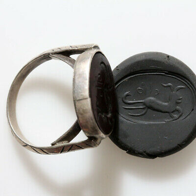 Museum Quality Roman Era Near East Intaglio Silver Seal Ring Ca 300-400 Ad