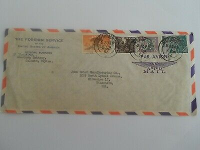Stamp Mart : Sri Lanka Ceylon American Embassy Foreigh Service Cover 1956 To Usa