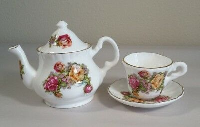 Miniature Polly Anna Floral English Teapot Cup and Saucer Set