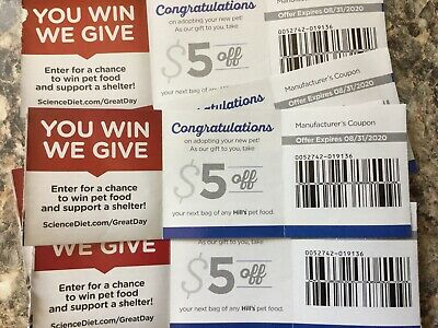 5 x $5.00 Off Coupons for Hill's Dry CAT or DOG Food Science Diet, Basics, etc.