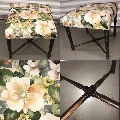 🌟Vintage Wooden Square Piano Dressing Table Stool Seat Chair 3