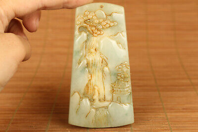 Chinese old Collectible Handwork Natural Jadeite Jade waterfall pendant netsuke