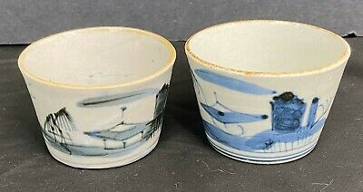 Pair Of Old Japanese Pottery Soba Nooodle Bowls