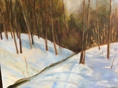 Original Art Realism Winter Season Landscape Scenery Oil painting Gina Lemelin