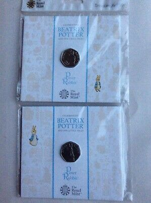 2018 &2019 Royal Mint BP Peter Rabbit BU 50p Fifty Pence Coin Sealed Pack