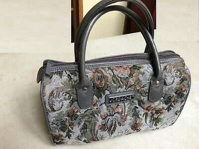 Vintage Jordache Carry-On Tote/Duffle Bag Overnight Gray Floral Tapestry Bag