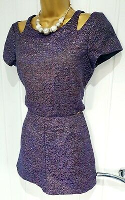 MONSOON fusion size 8 playsuit purple sparkle NEW BNWT christmas party cut out A