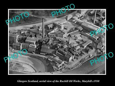 OLD LARGE HISTORIC PHOTO GLASGOW SCOTLAND THE RUCHILL OIL WORKS MARYHILL c1930