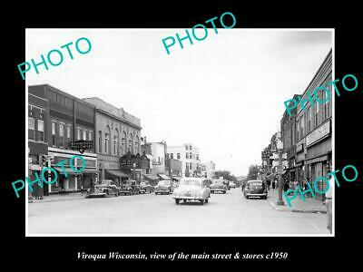 OLD 8x6 HISTORIC PHOTO OF VIROQUA WISCONSIN THE MAIN STREET & STORES c1950