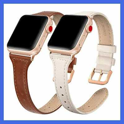 SWEES Genuine Leather Band Compatible W Apple Watch 38Mm 40Mm 2 Packs Slim Thin