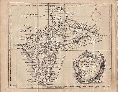 """1759 Antique Map - """"Guadaloupe, one of the Caribbee Islands in the West Indies"""""""