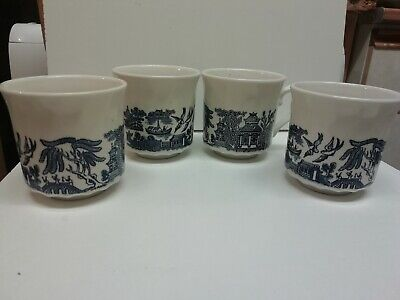 Set Of 4 Tea Cups Willow Pattern By Churchil