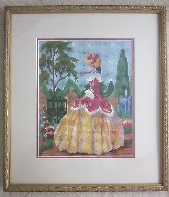CRINOLINE LADY gold framed hand worked TAPESTRY PICTURE
