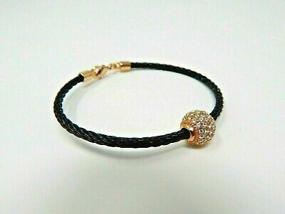 Black Coated Steel Twisted Cable Wire Bangle Bracelet Pave Crystal Ball Goldtone