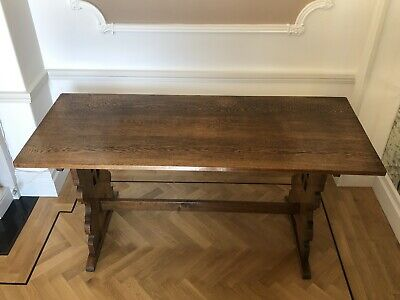 Vintage Antique Tiger English Oak Refectory Dining Room Kitchen Table 6 Seat
