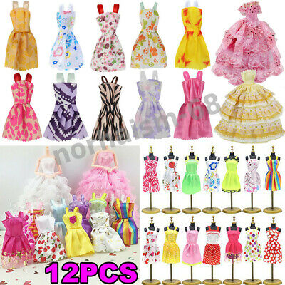 12Pcs Gown Dress Clothes Set For Barbie Dolls Wedding Party Prom Causal Decor.*
