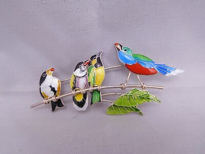 Super Fancy Colorful Vintage Sterling Silver Guilloche Enamel Bird Pin Brooch