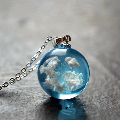 Resin Ball Moon Pendant Necklace Blue Sky White Cloud Chain Necklace JewelrHF LR